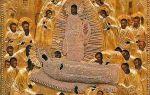 Икона божией матери «успение» псково-печерская, россия, псковская область, успенский пещерный храм псково-печерского монастыря