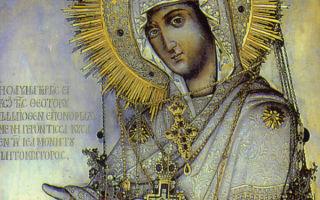 Икона божией матери «геронтисса», греция, афон, монастырь пантократор