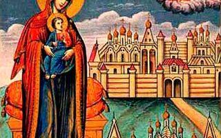 Икона божией матери «успение» овиновская, россия, костромская область, город галич, успенский собор паисиево-галичского успенского монастыря