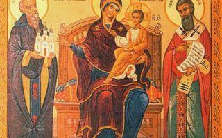 Икона божией матери «экономисса» («домостроительница»), греция, афон, великая лавра