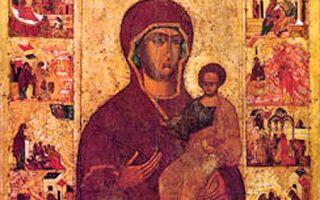 Икона божией матери «одигитрия» устюженская, россия, вологодская область, город устюжна, устюженский краеведческий музей